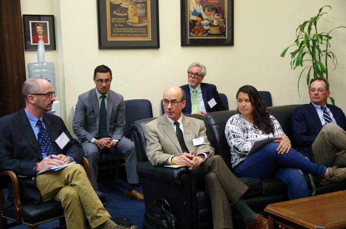 Allan Reetz of the Hanover Co-op (center) and members of the National Farmers Union delegation meet with senior aides for Congresswoman Debbie Stabenow (D-MI).