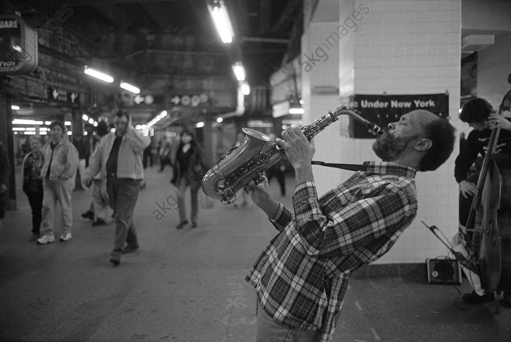 Saxophonist Daniel Carter Performing at the 42nd Street Subway Station, New York<br/>AKG3543101