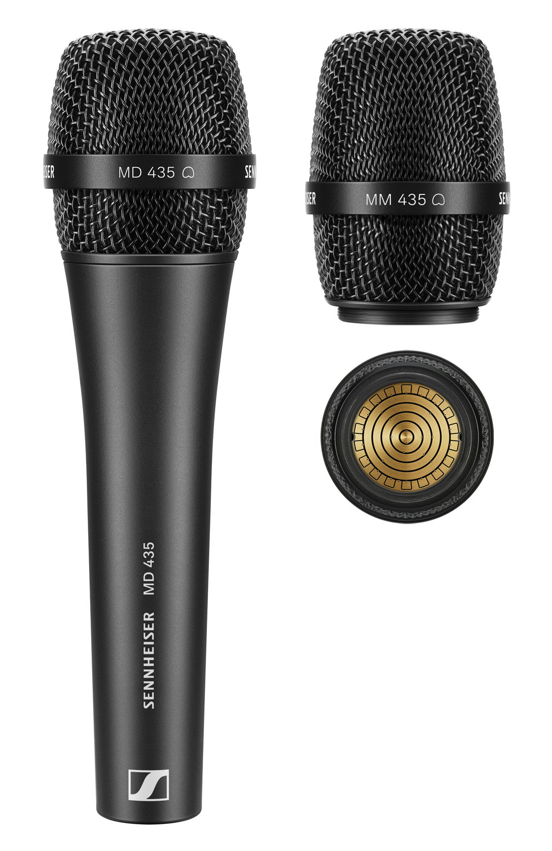 The wired MD 435 cardioid vocal microphone and the MM 435 microphone head (pictured with the capsule interface) for use with Sennheiser wireless transmitters