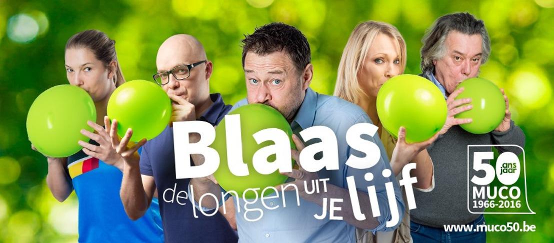 Bekende Belgen blazen de longen uit hun lijf voor 50 jaar Mucovereniging!