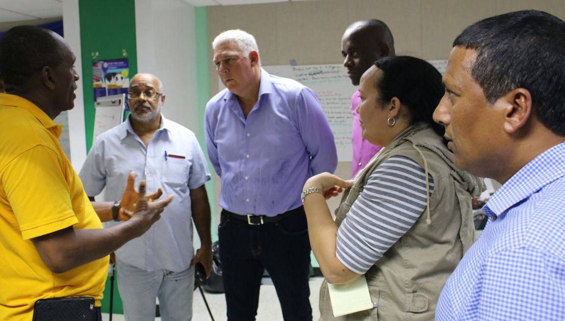 Prime Minister Chastanet, Prime Minister Skerrit and Dr. Didacus Jules meet with disaster management officials in Antigua.