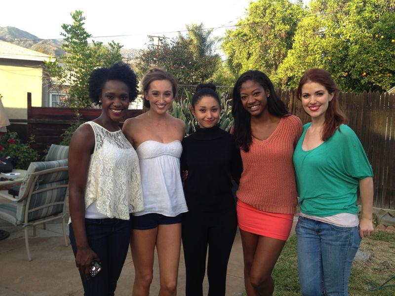 Ekeobong, Addy, Maria, Aletha and Karah having fun on set.