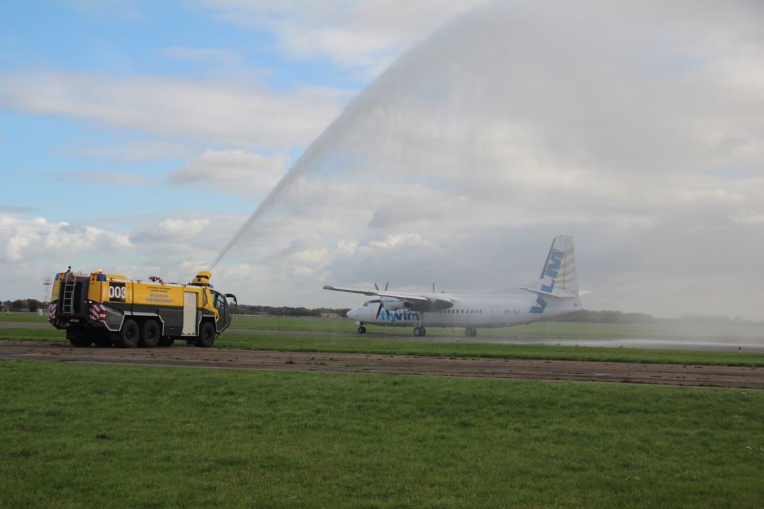 OO-VLI, one of VLM's 6 Fokker 50s, received a water salute at Antwerp Airport