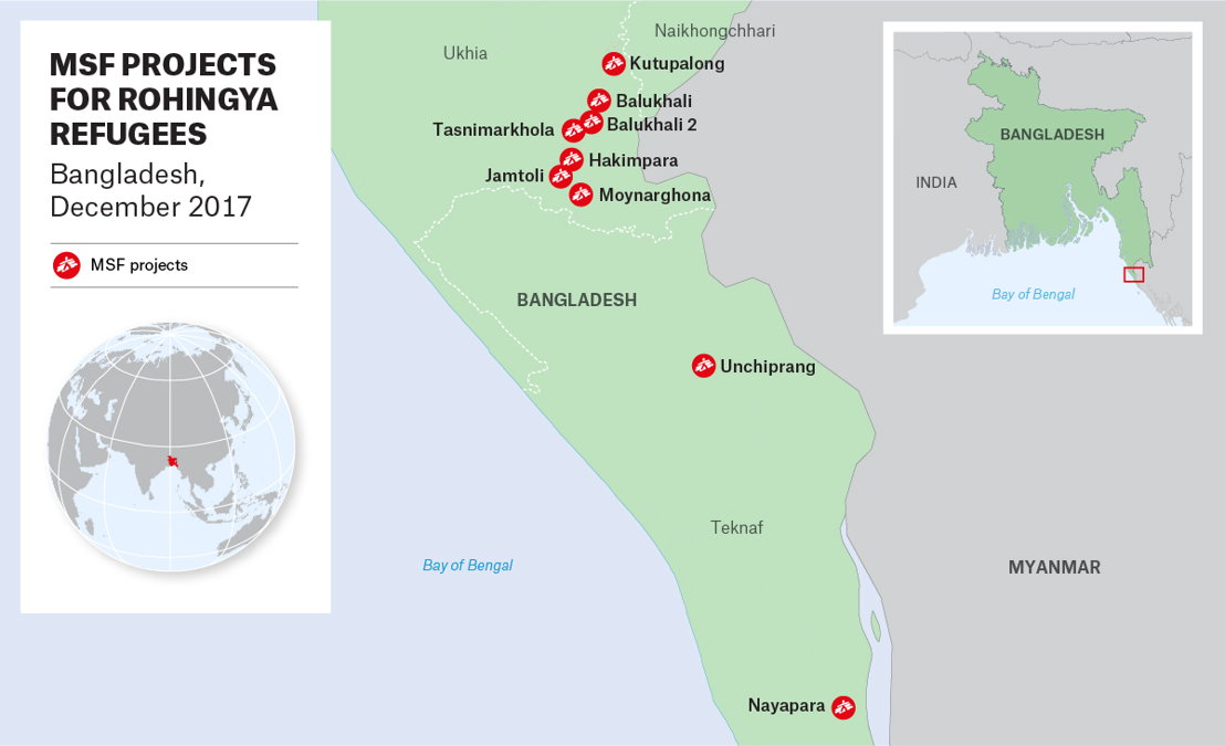 Map of MSF activities in Bangladesh. Photographer: MSF