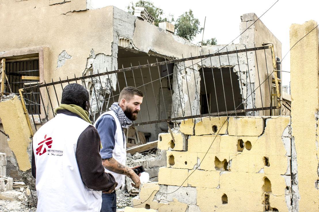 MSF teams assessing the medical and humanitarian needs in Al Mishlab, east of Raqqa city, 2 November 2017. Credit MSF/Diala Ghassan