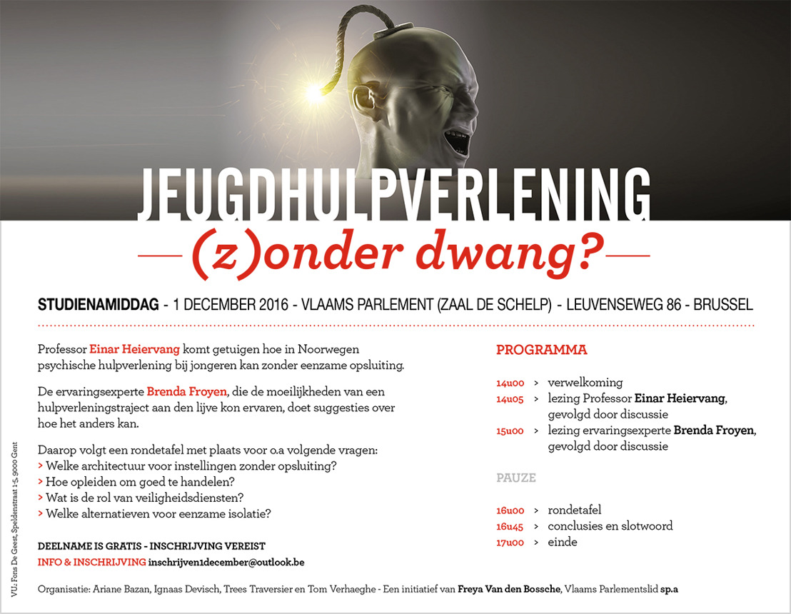 "Uitnodiging Freya Van den Bossche: ""Jeugdhulpverlening (z)onder dwang?"""
