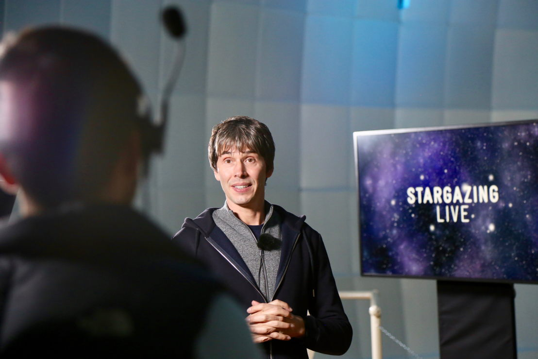 Brian Cox rehearsing for Stargazing Live
