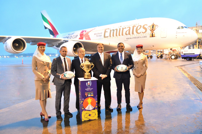 The Webb Ellis Cup Touches Down in Japan with Emirates