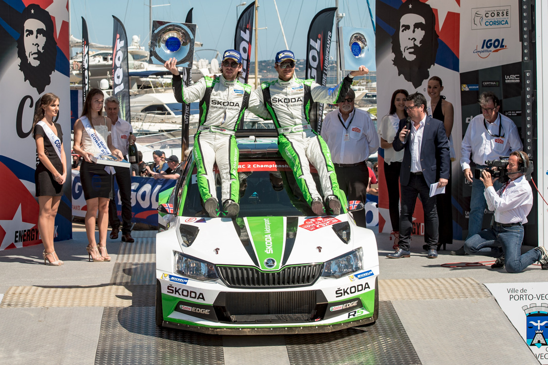 Tour de Corse: Convincing win for Andreas Mikkelsen ŠKODA claims top two spots in the WRC 2 table