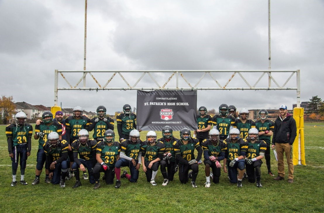 The Nissan Kickoff Project has supported 78 Canadian high school football programs across Canada, including St. Patrick's High School in Ottawa, Ontario