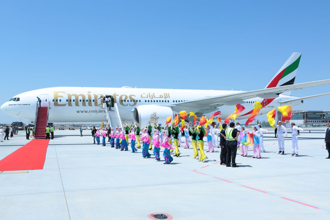 School children from the Ningxia Region performed a welcome dance to welcome and greet the VIP and media delegation