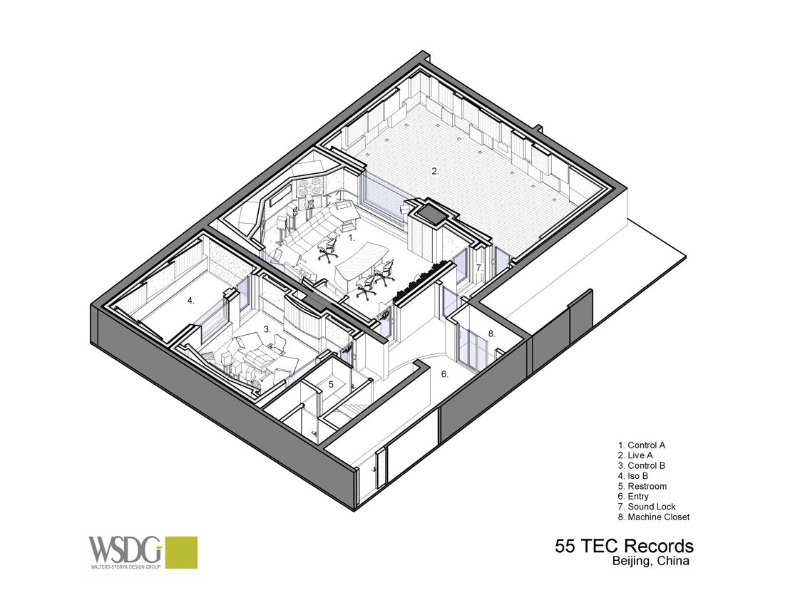 WSDG Presentation Drawing of Beijing's 55TEC Studios