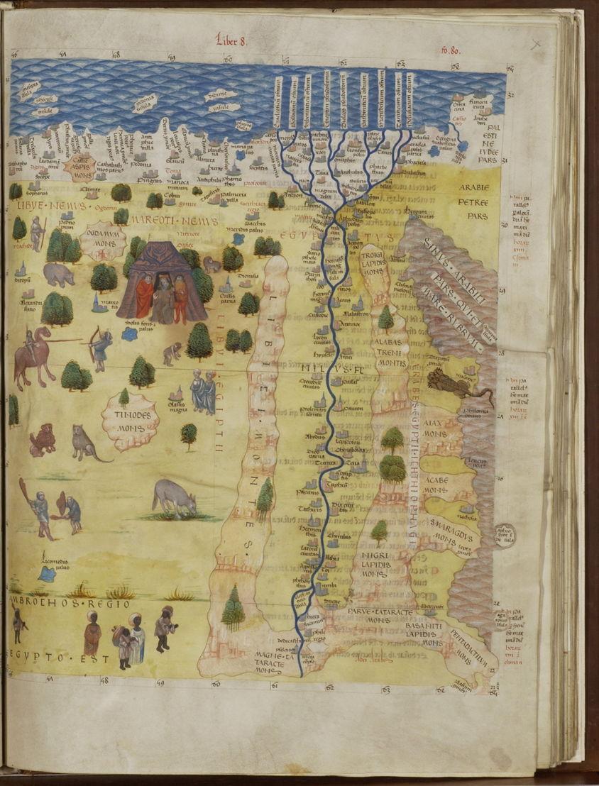 Kaart van de Nijl en de onbekende gebieden in Noord-Afrika, in Geographia, Claudius Ptolemaus, 1482-1485, Koninklijke Bibliotheek van België, Handschriftenkabinet, 14887, f.80r.