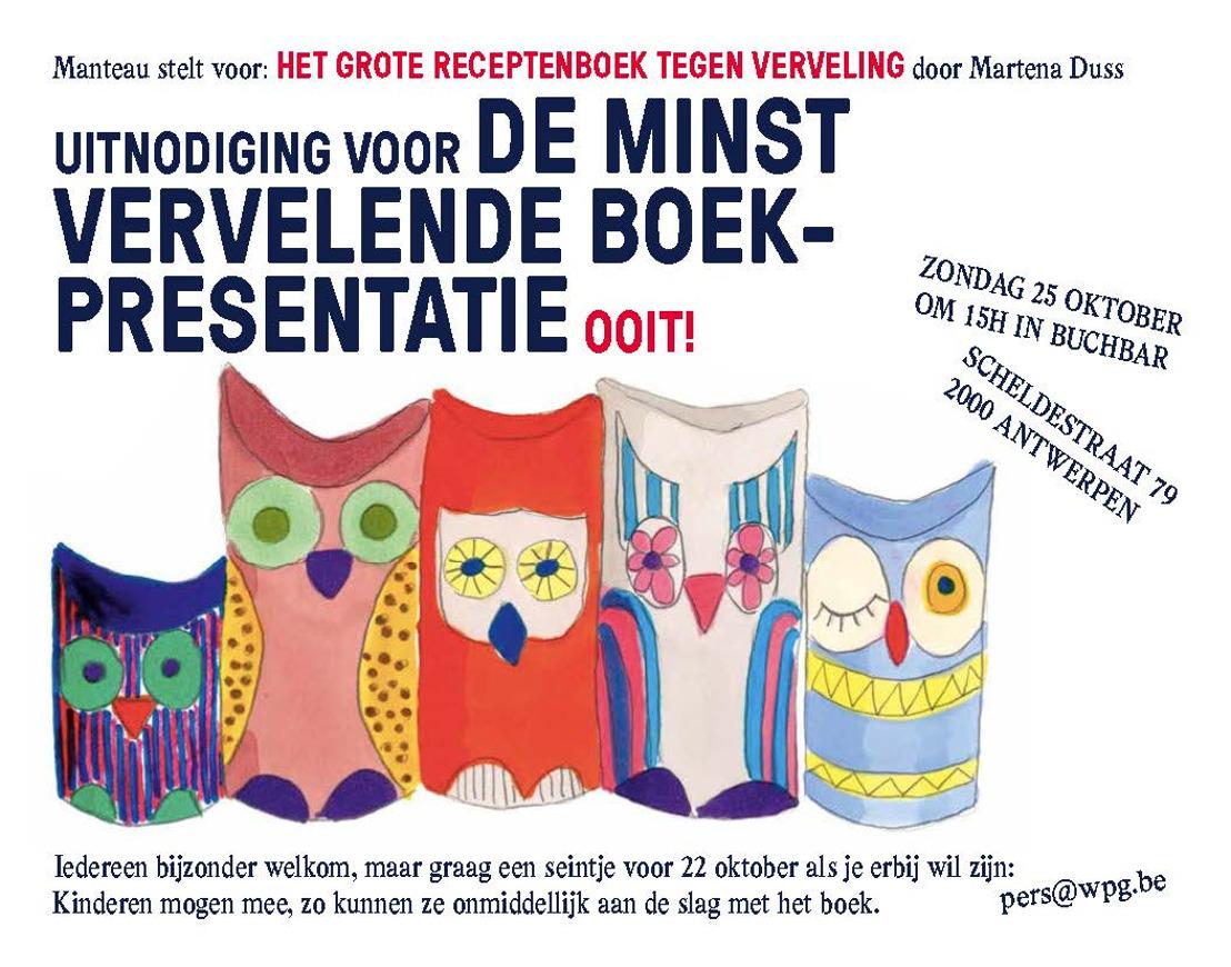 Uitnodiging voor de minste vervelende boekpresentatie ooit!