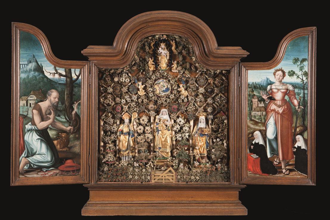 © Geschlossener Garten mit St. Anna Selbstdritt, Augustinus und Elisabeth, Mechelen, um 1520–1550.  Museen und kulturelles Erbe Mechelen – Sammlung Gasthuiszusters (Kik-irpa, Brüssel).