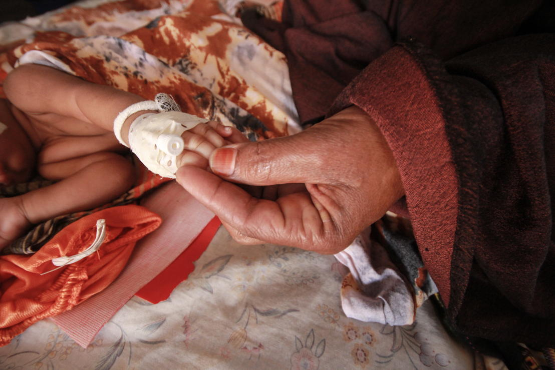 A newborn child receives care at MSF's hospital in Dagahaley refugee camp, Dadaab, Kenya. Photographer: Tom Maruko