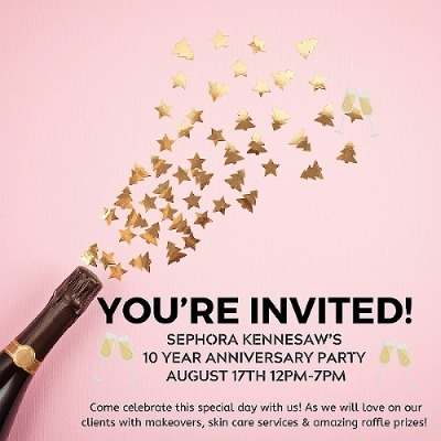 Sephora 10th anniversary party at Town Center at Cobb, August 17