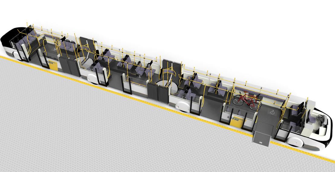Ontwerp van de trambus van De Lijn voor de Brusselse Noordrand. Fabrikant: Van Hool.
