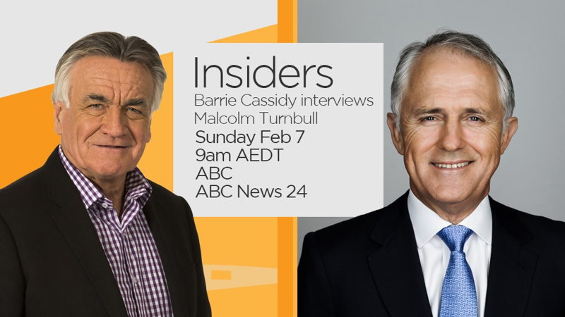 Barrie Cassidy interviews Malcolm Turnbull on Sunday morning, February 7