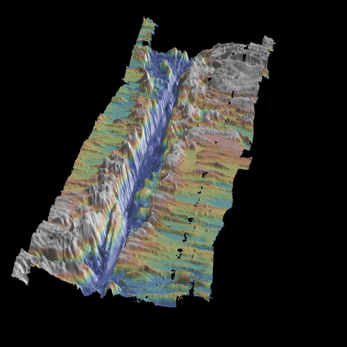 A 3D image of the transform fault on the Mid-Atlantic Ridge from the Passive Imaging of the Lithosphere and Asthenosphere Boundary (PILAB) experiment. Credit: Nick Harmon and Catherine Rychert