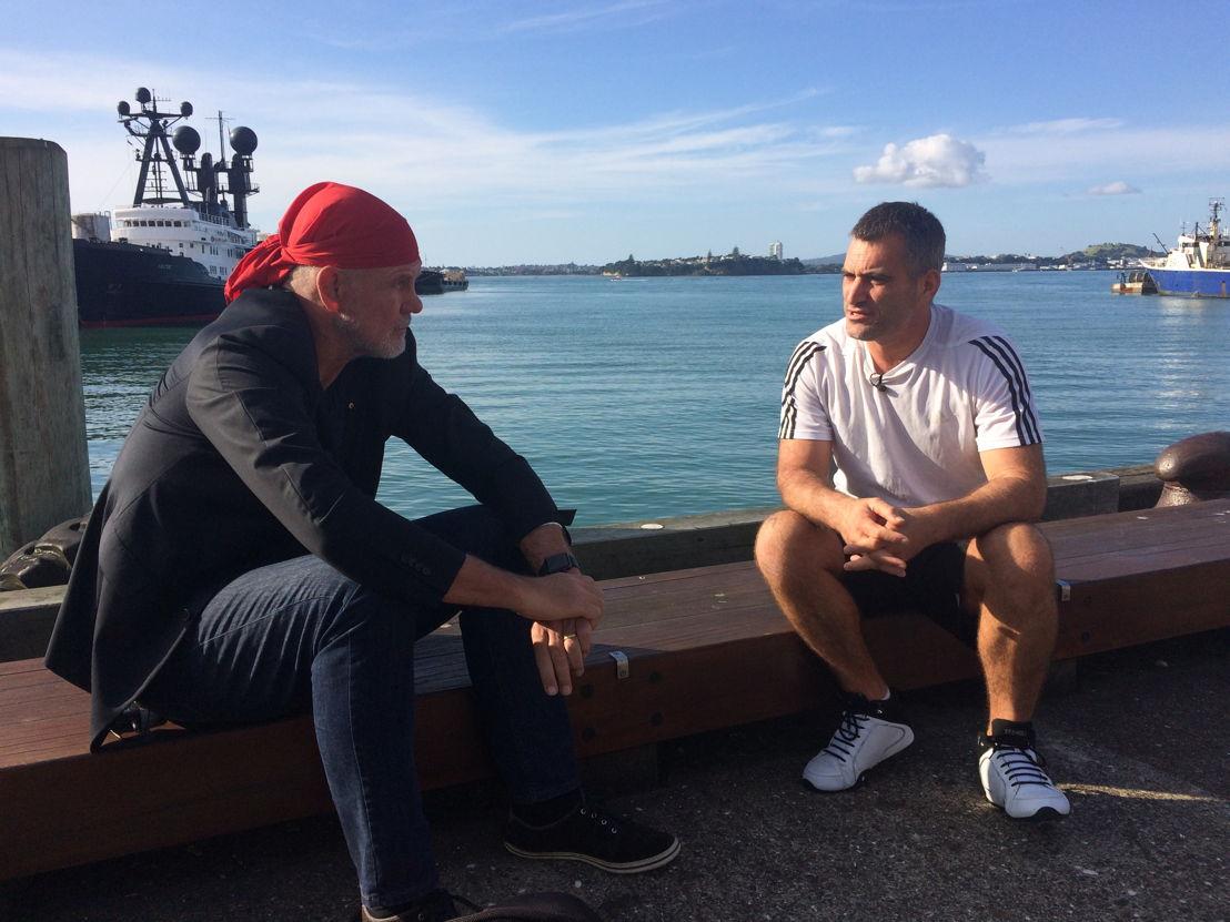 Peter FitzSimons with deportee Shaun Wynyard