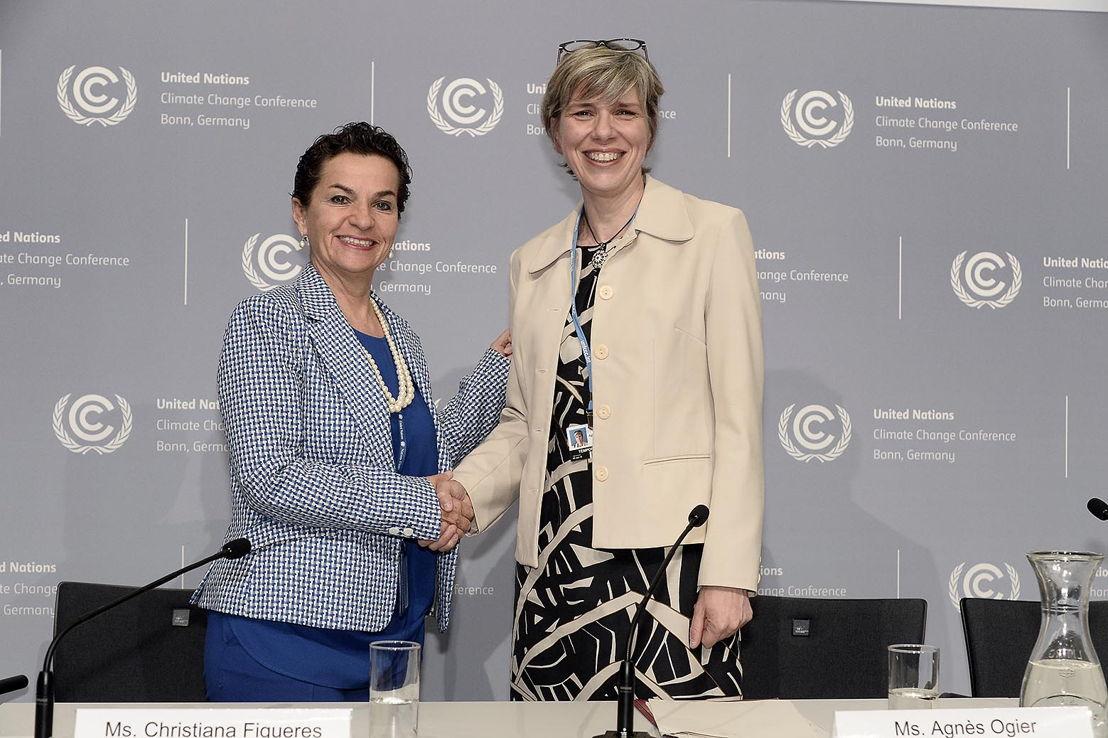 Agnès Ogier, CEO van Thalys, en Christiana Figueres,  Uitvoerend secretaris van de United Nations Framework Convention on Climate Change (UNFCCC)