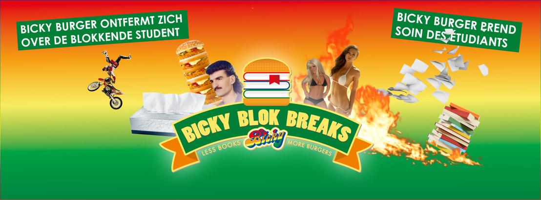 Bicky Burger ontfermt zich over studenten, met de Bicky Blok Klok.