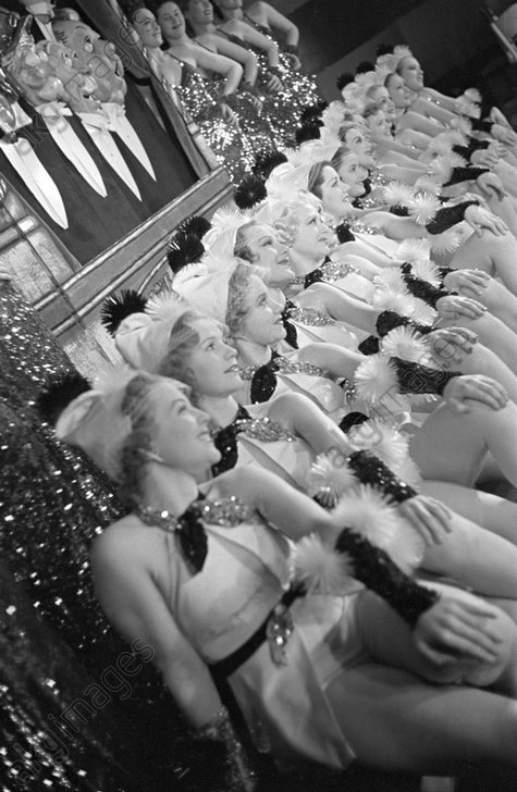 Rehearsal with showgirls at the Paradise Cabaret Restaurant, 49th Street and Broadway, New York –1936. Barto &amp; Mann were also on the bill.<br/>AKG1013915