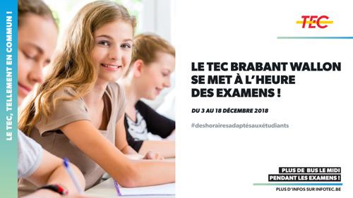 Le TEC Brabant Wallon se met à l'heure des examens !