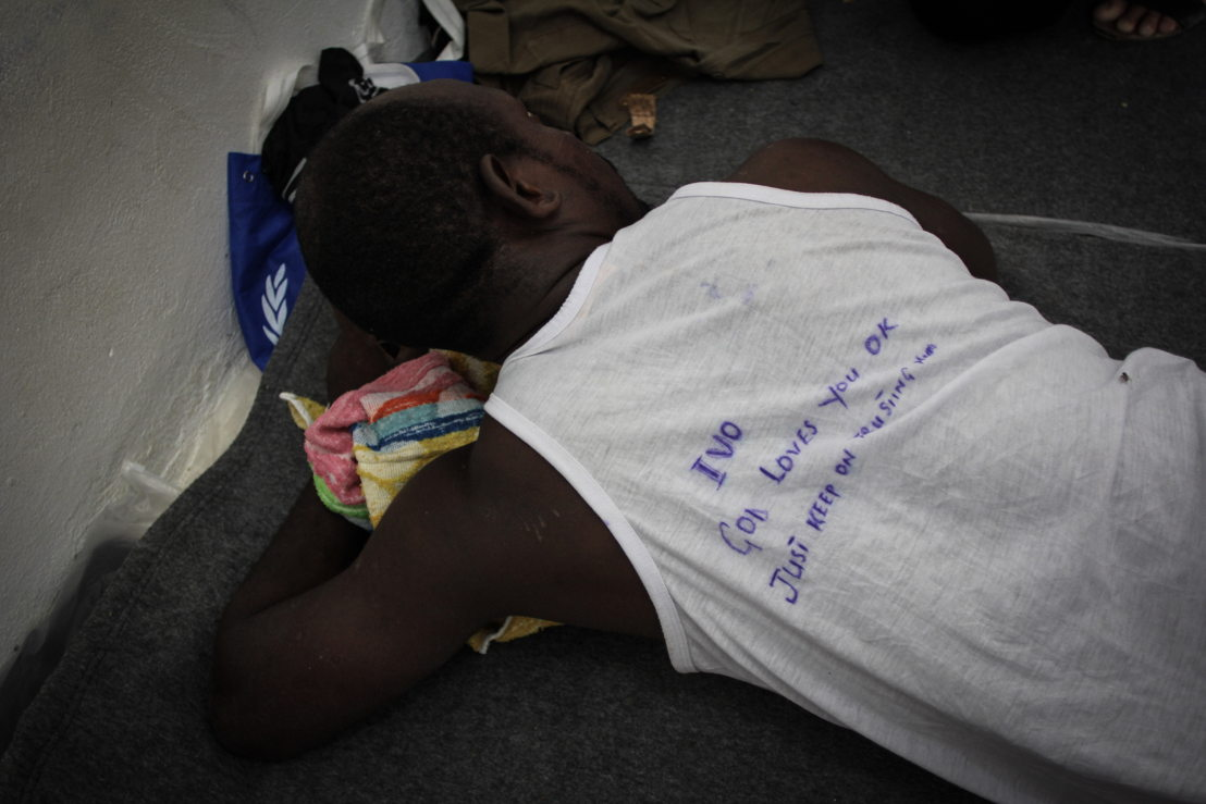 A shipwreck survivor in detention centre. He was referred to the local hospital as he started to develop serious chest infections as result of long hours spent in the water.<br/>On September 2nd, 276 people were brought by the Libyan coast guard to Khoms (120 km east of Tripoli) - among them 181 men, 42 women and 24 children including 2 babies less than 12 months old. They were then transferred to detention center where MSF works. Reportedly, they were in two rubber coats, one stopped due to engine failure, while the other boat continued to navigate for several hours before deflating and sinking. Survivors told MSF teams that over a hundred people died in the shipwreck. Photographer: Sara Creta