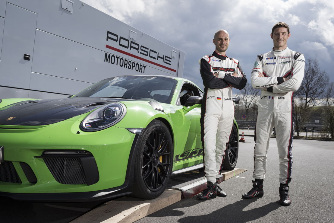 L-R: Lars Kern (Porsche test driver) and Kévin Estre (Porsche factory driver) after the hot lap at the Nuerburgring Nordschleife.