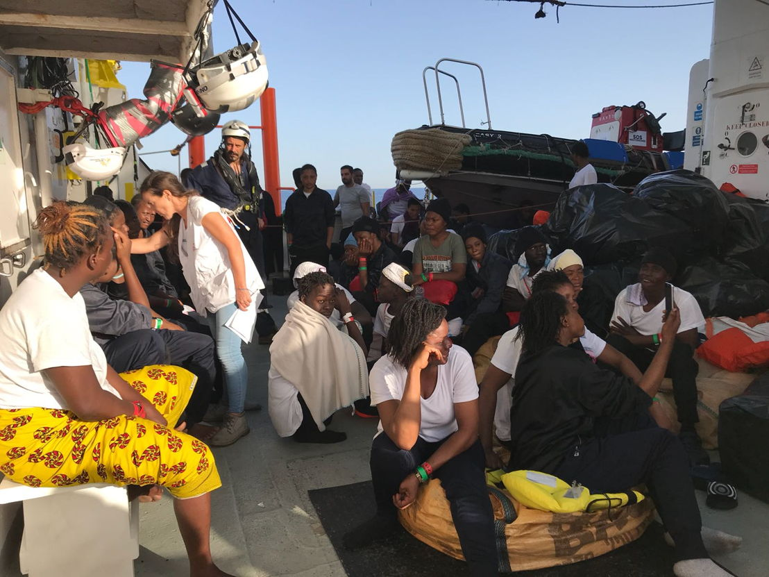 Aquarius has transferred over 500 persons to two Italian Navy ships, at the request of the Italian MRCC. Aquarius was instructed by Maritime Rescue Coordination Centre in Rome to sail to Valencia to disembark the remaining 106 people.<br/><br/>While this appears to be a quick fix to the current political standoff, this should not set a precedent for future disembarkations. Rescued people should be disembarked in the nearest safe port available. Photographer: Lauren King