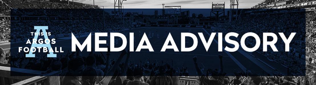TORONTO ARGONAUTS TRAINING CAMP & MEDIA AVAILABILITY SCHEDULE (MAY 31)