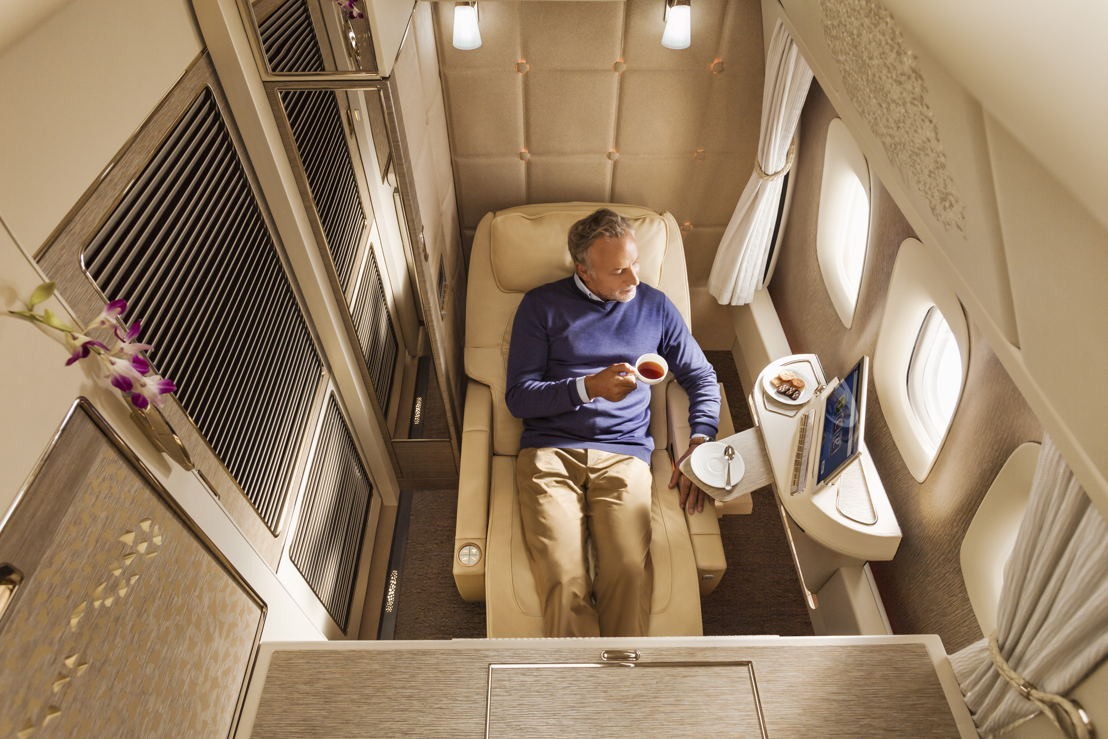 Zero-gravity position in the new Boeing 77 First Class Suites