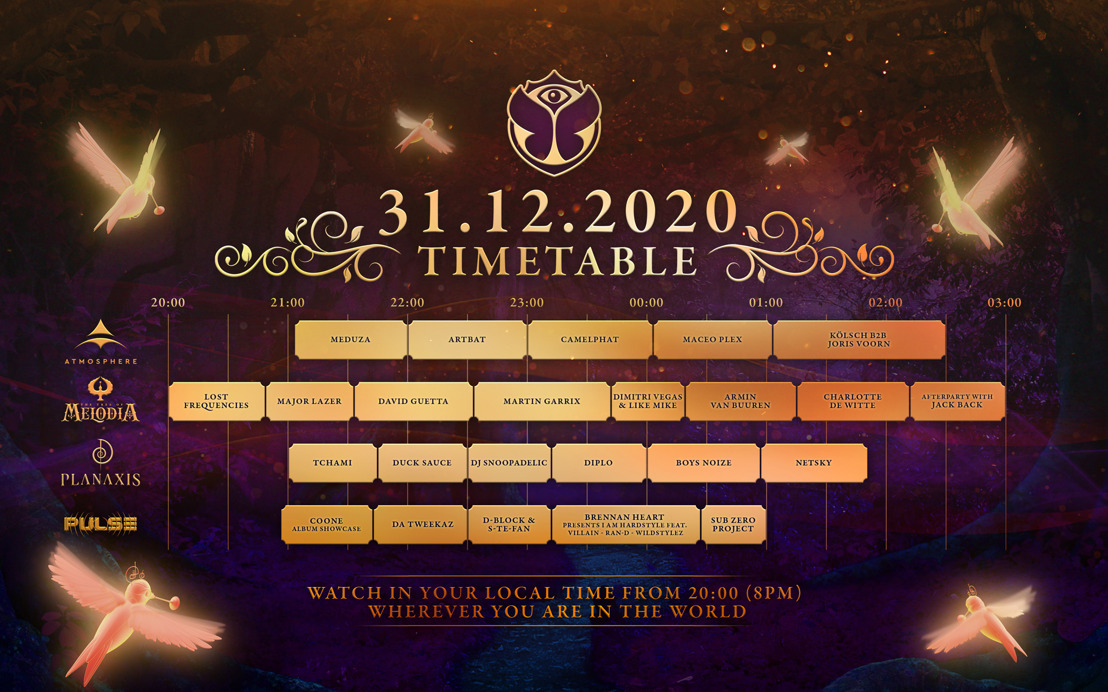Tomorrowland unveils the full timetable for its magical New Year's Eve celebration Tomorrowland 31.12.2020