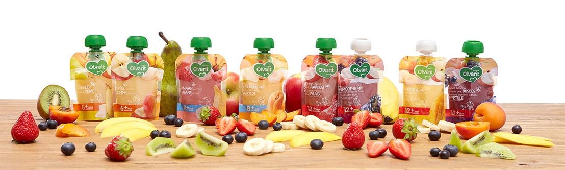 Fruit voor elk moment: Nutricia introduceert nieuwe Olvarit knijpzakjes met fruit