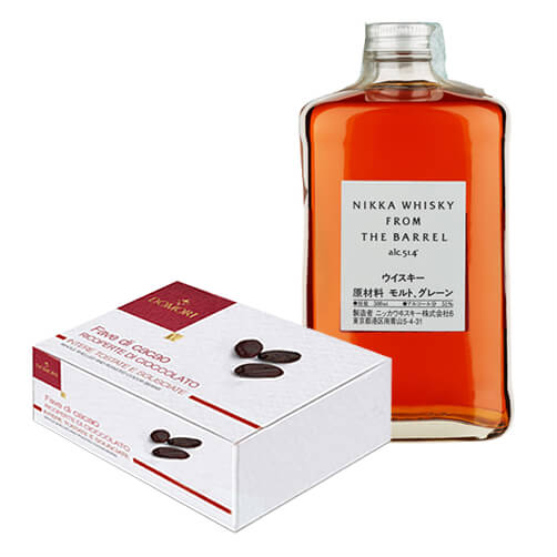 "Fave di cacao Trinitario ricoperte di cioccolato fondente & Double Matured Blended Whisky ""From the Barrel"" - Nikka Whisky"