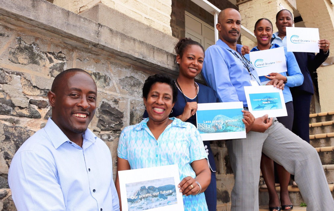 Members of the OECS Environmental Sustainability Cluster observe World Oceans Day 2017.
