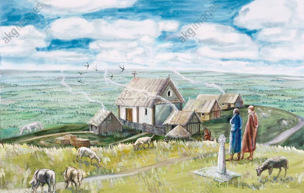 Monastic settlement, Glastonbury Tor, c.11th century, (1990-2010). Artist: Judith Dobie.<br/>AKG5735418