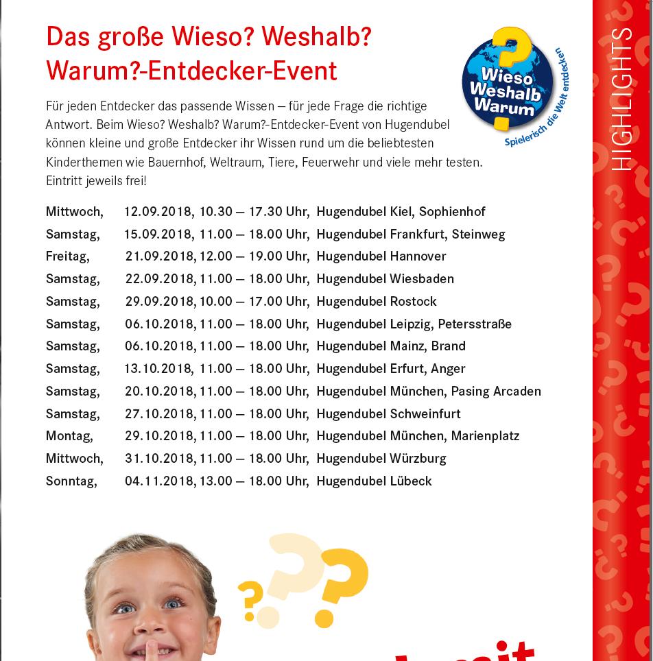 Das 20-jährige Jubiläum der erfolgreichsten deutsch-sprachigen Kinderbuchsachreihe Wieso? Weshalb? Warum? feiern Ravensburger und Hugendubel gemeinsam mit einer Deutschland-Tour durch ausgewählte Hugendubel-Filialen. Copyright: Ravensburger