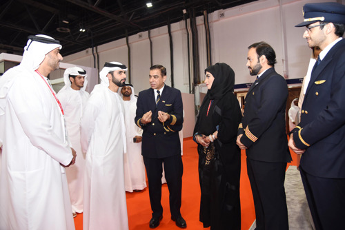 HH Sheikh Mansoor bin Mohammed bin Rashid Al Maktoum visits the Emirates Group stand
