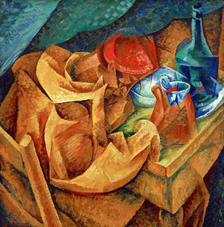 "Umberto Boccioni, ""Il bevitore"" (The Drinker), 1914.<br/>Oil on canvas, 87.5 × 87.5 cm.<br/>Milan, Museum of Contemporary Art.<br/>AKG355977"