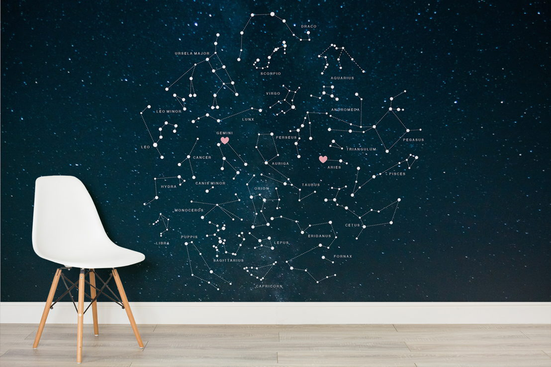 Valentines Constellations Mural - Simple
