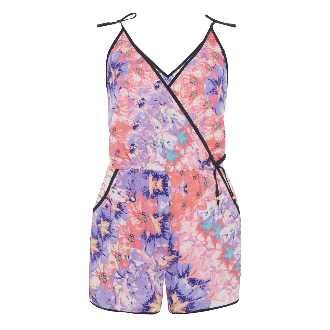 Mirrored floral print beach playsuit, €9