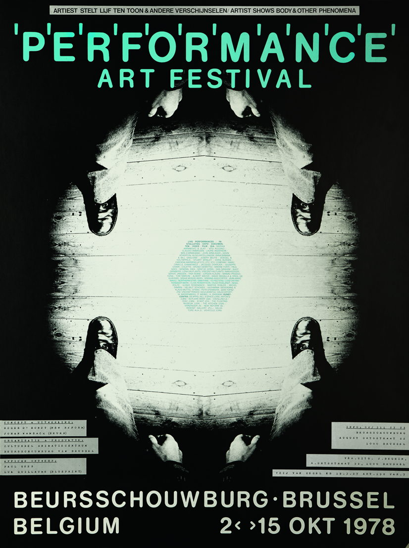 Performance Art Festival 1978, affiche, foto Paul Gees, vorm Luk Guillaume