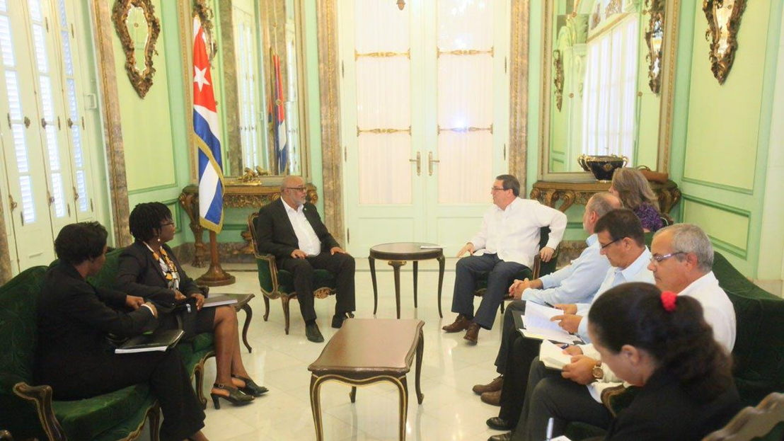 OECS Director General, Dr. Didacus Jules (L) meets with the Minister of Foreign Affairs of Cuba, Bruno Rodríguez Parrilla