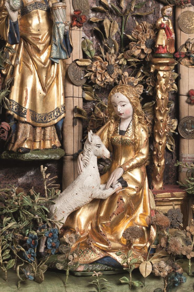 © Geschlossener Garten mit Kalvarienberg und Jagd auf das Einhorn, Mechelen, um 1500–1530. Museen und kulturelles Erbe Mechelen – Sammlung Gasthuiszusters (Kik-irpa, Brüssel).