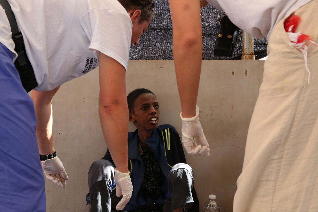 A young Somalian boy, who did not respond to our medical team because he was in shock after the rescue. Photographer: Mohammad Ghannam