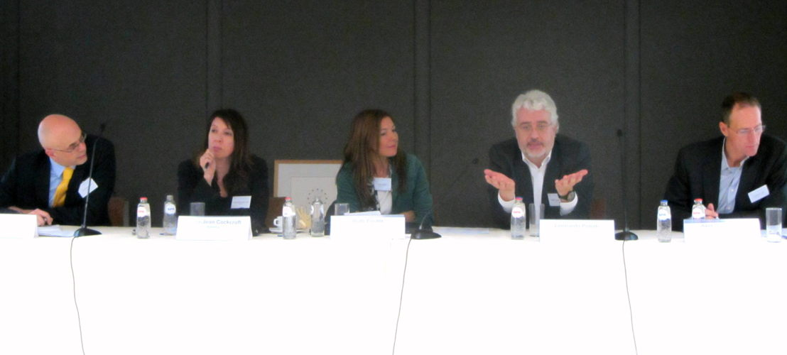 Panel debate (from left: Paul Davidson, Linda-Jean Cockcroft, Ruth Foster, Leonardo Poletti, Axel Singhofen)