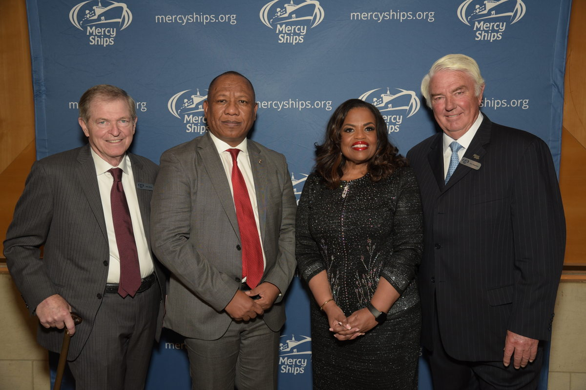 Mike Ullman, chairman of Mercy Ships International; The Right Hon. Christian Louis Ntsay, the prime minister of the Republic of Madagascar; Mercy Ships President Rosa Whitaker; and Don Stephens, Founder of Mercy Ships.